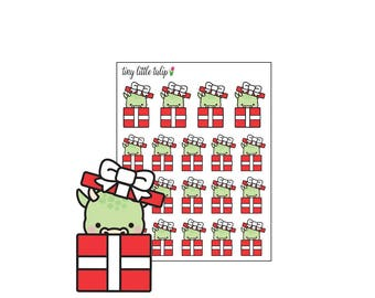 Planner Stickers Christmas Dragon in a Gift