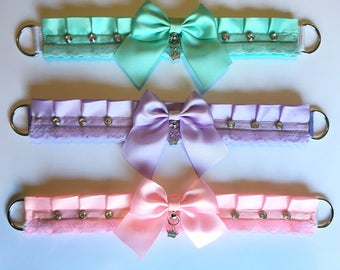 Premade Tug Proof Pastel Lace Kitten Play Collars ~ pleated ribbon, bondage proof, pet play, kitten play, pastel, ddlg, bdsm, submissive ~