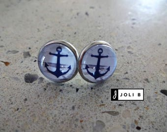 Stainless steel earrings - 12 mm glass Cabochon - anchors