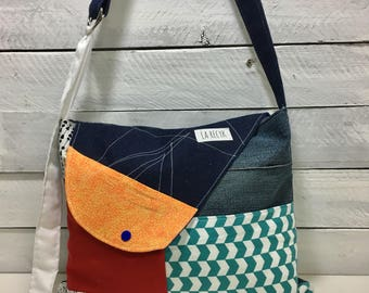 Hobo style Messenger, patchwork, bag flap AOR