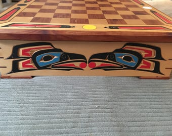 Native American Hand Crafted Chess Checker Board