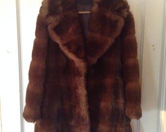 Vintage ladie's faux fur overcoat jacket Sabella by Fairmoor
