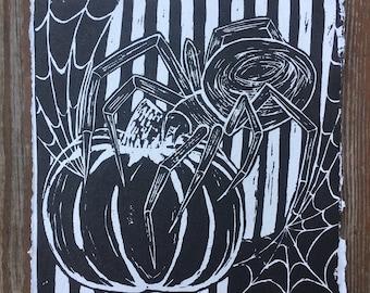 Spider Vintage Pumpkin Print