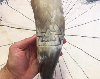 The Valknut Symbol of Valhalla Hand Carved Viking Drinking Horn 100% Pure Beeswax Cured With Wood Burned Skal Stand and Leather Frog. Norse
