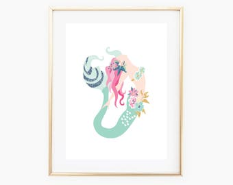 Mermaid Wall Art, Mermaid Printable, Mermaid Decor, Mermaid Art, Wall Print Download, Mermaid Nursery, Mermaid Art, Mermaid Digital Print