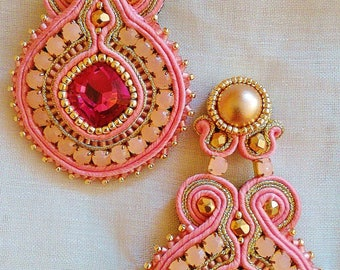 Pending soutache salmon and old rose