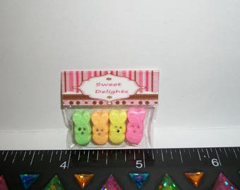 New Dollhouse Miniature Handcrafted Packaged Easter Chocolate Marshmallow Bunny Candy Sweet Dessert Food #917