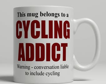 Cycling mug, cyclist mug, cycling coffee mug, cyclist coffee mug, cycling gift, cyclist gift, mug cycling, mug cyclist EB addict cycling
