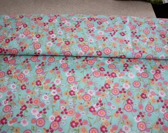 fabric by the meter, 100% cotton, flower, floral, pink