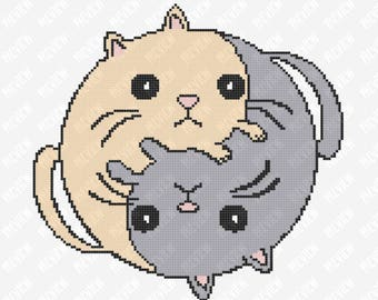 Yin Yang Cats | Counted Cross Stitch PDF Pattern | Instant Download