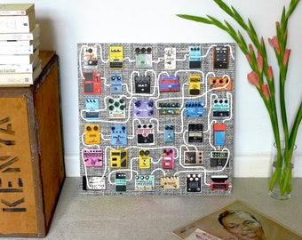 Guitar Pedals | Fuzz Box Digital Art | Wall Decor For Him | High Quality Printable Poster | Downloadable Art | FX Pedal | Music | Stomp Box