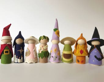 Peg Doll gnomes & fairies for pagan solstice festivals and waldorf nature table