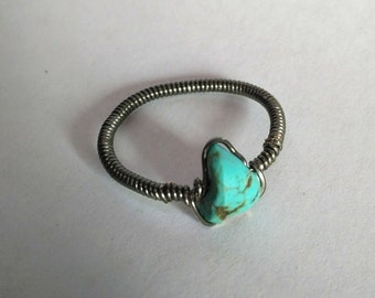 Turquoise ring metal wire wrap