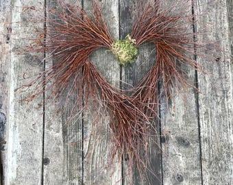 Wreath, Heart Wreath, Birch Wreath, Rustic Wreath, Natural Birch Heart Wreath, Natural Décor