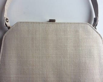 Vintage 1960's Purse - Woven fabric bag with shoulder strap - stylish square bag