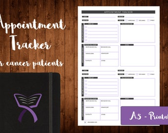 Appointment Tracker for Cancer Patients, Cancer Planner, Cancer Organizer, Printable, Cancer Planner Inserts, A5, Cancer Gifts