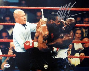 Mike Tyson Autographed Signed 11x14 Photo VS Evander Holyfield PSA