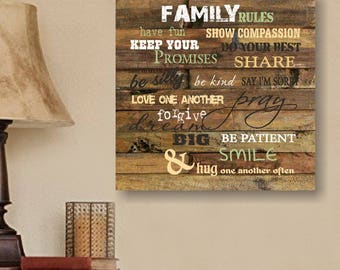Family Rules Hanging, Home Decor, Wall Art, Wall Decor, Hanging Wall Art, Family Room Decor, Living Room Decor, Dining Room Decor