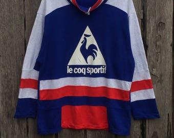 Vintage !!Rare le coq sportif Multicolor  Spell Out Big logo Sweatshirt