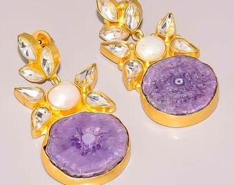 Purple Solar Stone Earrings