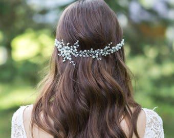 Bridal headpiece Wedding hair vine Bridal hair wreath Wedding hair piece Beaded headpiece Crystal headpiece Pearl hair vine Bridal hair halo