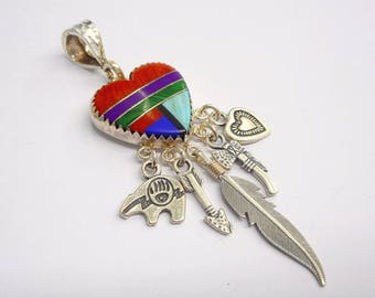 Sterling Pendant, Native American, Gemstone Pendant, Q.T. Native American Sterling Silver Gemstone Inlay Drop Dangle Pendant #3237