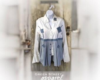 White Boho Blouse, Shabby Chic Blouse, Mori Girl Blouse, Boho Chic, Women's Upcycled Clothing, Boho Tops, Long Sleeved Blouse
