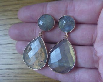 Golden Earrings: labradorite