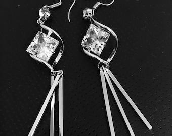 Silver Earrings, Giftforher, Fashion Earrings, Crystal Earrings, UK Seller , Summer collection, Earrings , UK Seller