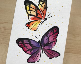 Watercolor Butterfly Greeting Card (blank)