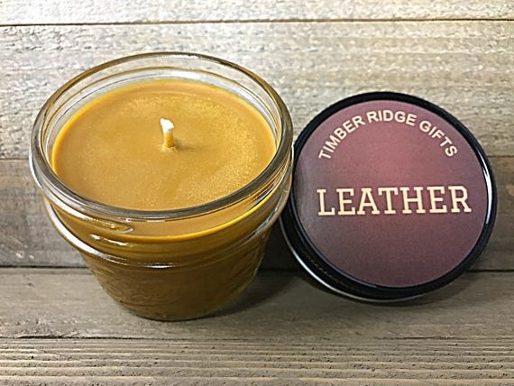 Leather Candle - Soy Candle - Mason Jar Candles - Decorative Candle - Scented Candle - Homemade Candle - Handmade Candle - Cool Candles