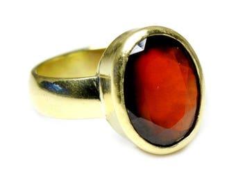 Hessonite Ring,Panchdhatu Ring,Gemstone Ring,Panchdhatu Alloy Ring,Natural Stone Ring,Hessonite,Gemstone,Men Ring,Women Ring,Garnet Ring