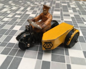 Miniature Dinky toy meccano AA man with sidecar model 44b