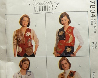 1995 McCall's Creative Clothing Pattern 7804 CUT Size Small (8-10), Misses LINED Vest with appliques..pieces counted..see description