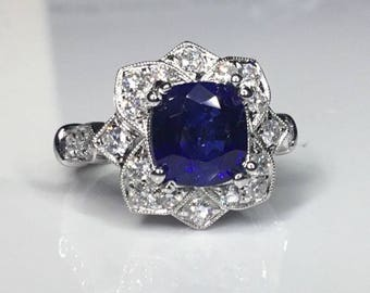 Estate GIA 6.58 CTW Natural Blue Ceylon Sapphire & Diamond Engagement 18K Ring