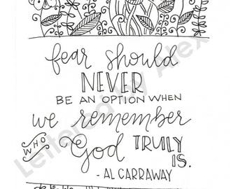 Hand Lettered Al Carraway Quote LDS