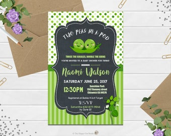 Peas in a Pod Baby Shower Invitation, Twins, Baby Boy Girl, Invite, Personalized, Pea in a Pod, Cute, Green, Polka, Printable, Digital File,