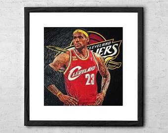 lebron autograph. lebron james - poster art cleveland cavaliers basketball lebron autograph
