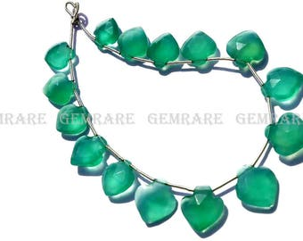 Green Onyx Faceted Apple beads, Quality AAA, 11 to 13 mm, 18 cm, 15 pieces, GR-070/1, Semiprecious Gemstone beads, Craft Supplies