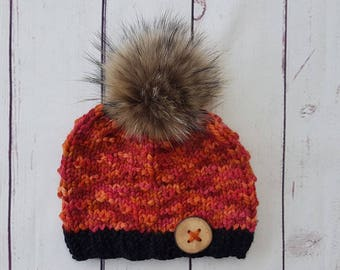 Adult hat, autumn, orange with real fur pompom and wood button