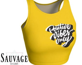 Positive vibes on yellow - Athletic pink and white Crop Top • Festivals and yoga classes approved • handmade in Montreal