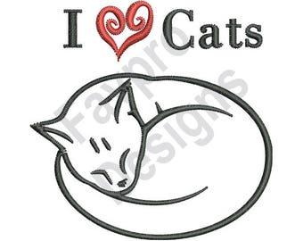 I Love Cats - Machine Embroidery Design