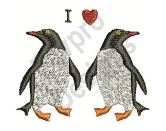I Love Penguins - Machine Embroidery Design