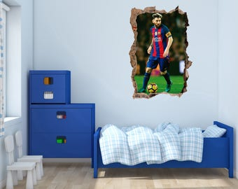 Lionel Messi decal - 3D Smashed wall -   Wall Decal For Home bedroom Hall Decoration