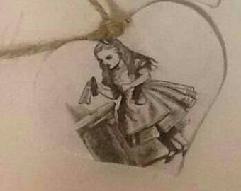 Alice in wonderland hanging hearts