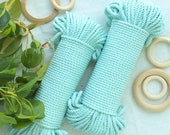 Sea Blue* coloured cotton rope, 5mm, 60 meters, 200 feet, macrame supplies, crafts, bohemian art supplies