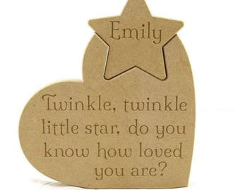 Engraved heart, engraved plaque, twinkle twinkle, engraved star, bedroom decoration, nursery decoration