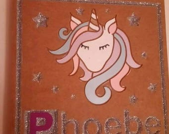 Unicorn wall plaque, Engraved wall plaque, Spaceship wall plaque, Personalised plaque, Wooden name plaque