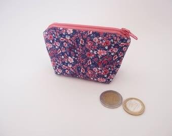 Porte-monnaie - fleuri rose et violet - Mini trousse - Trousse à anneaux marqueurs - porte monnaie