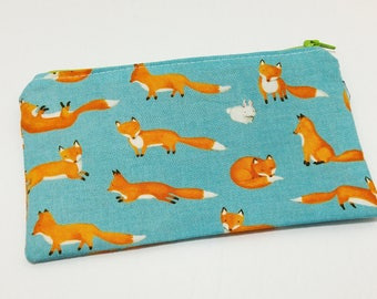 Fox, Fox, Rabbit! Novelty Zipper Pouch - makeup bag; pencil case; gift for her; cosmetic bag; carry all; gadget case;